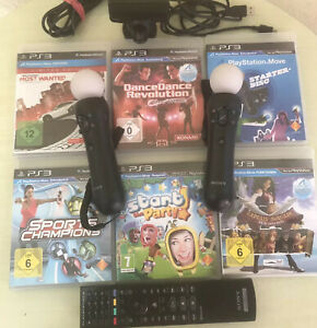 2x Sony Playstation Move Motion Controller PS3/PS4+ PS3 Kamera+ 7 Spiele