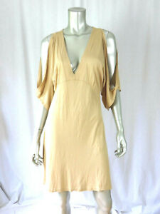 REBECCA BEESON SZ M Earth Yellow Beige Thin Cotton/Modal Empire Wais Tunic Dress