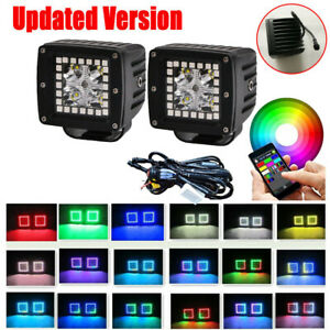 """Pair 3"""" 48W Led Work Light Bar Spot Fog Pods RGB Halo Color Changing Chasing Kit"""