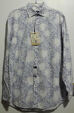 Excellent CREMIEUX 38 White Blue Paisley Wash Long Sleeve Shirt M NEW! $79.50