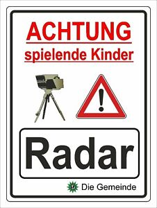 Hinweisschild Radarkontrolle Kinder Aluverbundplatte 3mm - 30x40cm RA6