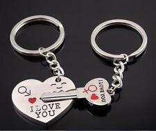 """I Love You"" Heart+Arrow + Key Couple Key Chain Ring Keyring Keyfob Lover Gift"
