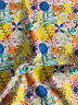"White, Yellow & Blue Flowers Floral ""Floral Meadow"" 100% Printed Cotton Fabric."