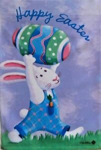 """Egg Lift  Bunny Garden Flag by Toland # 9113,  12"""" x 18"""" Colorfast!"""