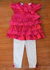 FAO Schwarz Holiday Pink Ruffle 2 Piece Outfit Girls Size 18 M