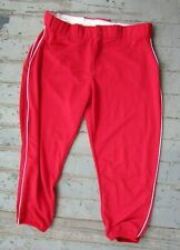 Alleson Women's Baseball Softball Pants RED White Piping Size XXL EXCELLENT 2XL