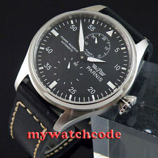 47mm parnis black dial power reserve automatic movement mens watch 318