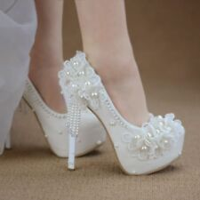 Womens Round Toe pearl Wedding High Heel White Party Platform Shoes Spring 2018