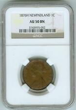 NGC AU50 BN 1876 H Newfoundland Large Cent
