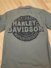 Harley Davidson Mens Work Mechanic Button Shirt Siz S Army Green Short Sleeve