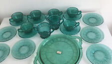 More details for jeannette glass co. doric & pansy teal ultramarine depression tea set