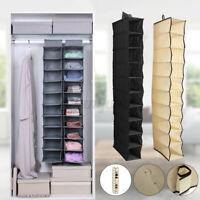 10 Section Clothes Hanging Organiser Storage Wardrobe Closet Shoes Hanger   +-