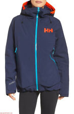 NWT HELLY HANSEN Louise Waterproof Insulated Ski Hood Jacket Size L Evening Blue
