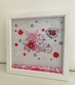 pink, grey, white deep box picture frame gift for 18th birthday female