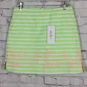 Lady Hagen Islamorada Skort Womens Sz2 Green/White/Pink Striped Embroidered Golf