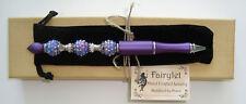 Ballpoint Pen Handmade Jeweled Beaded Purple Shimmer Pen W/ Velvet Pouch NEW!