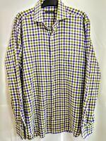 Peter Millar Long Sleeve Mens Checkered Shirt Large PreOwned Green Purple
