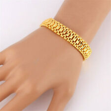 24k Gold Plated Cuff Bangle Wristband Jewelry for Men Chunky Link Chain Bracelet