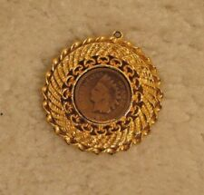 "1904 ""INDIAN HEAD"" PENNY.......SET IN PENDANT FOR NECKLACE."