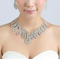 Beautiful Necklace and Earrings Set Crystal Rhinestone Silver Plated Ladies Gift