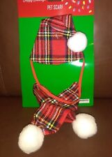 Plaid and White Christmas Pet Hat and Scarf