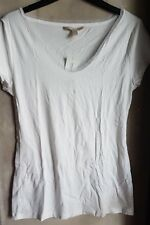 BANANA REPUBLIC WOMENS MESH NECKLINE VNECK WHITE SHIRT- Size small