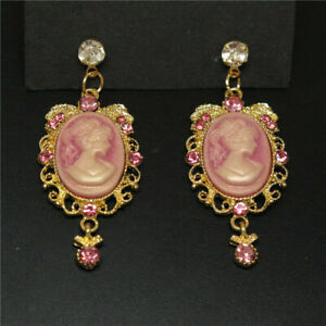 BETSEY JOHNSON'S VICTORIAN STYLE PINK CAMEO TOPAZ STUD GOLD FILLED EARRINGS