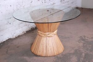 McGuire Bamboo Pedestal Dining Table