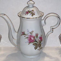 "Vintage Porcelain Floral Pink Moss Rose 9"" Tall Tea Coffee Pot & Lid Gold Trim"