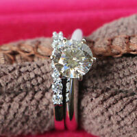 3CT Round-Cut Diamond Bridal Wedding Engagement Ring Set 10k White Gold Finish