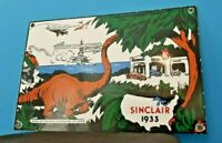 VINTAGE SINCLAIR GASOLINE PORCELAIN HC PUMP SERVICE STATION WW2 DINOSAUR SIGN