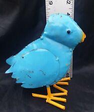 """Adorable Metal TURQUOISE CHICK Baby Chicken Coop Yard Indoor Farm 6"""" garden art"""