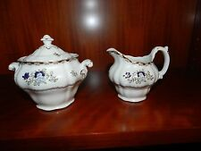 CREAMER & SUGAR - BOOTH'S ENGLAND CHINA PATTERN A8086 SCALLOPED RIM