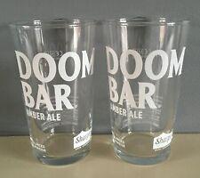2 X NEW SHARPS BREWERY DOOM BAR 1/2 PINT GLASSES - DOOM BAR ROCK CORNWALL