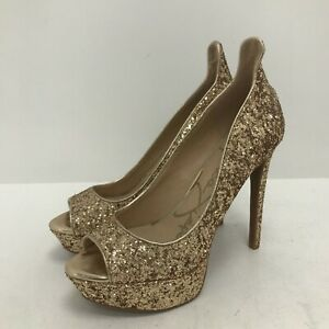 New Jessica Simpson Heels UK 5.5 US8 Gold Glitter Peep Toe Platform Party 171440