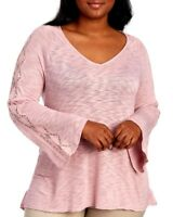 Jessica Simpson Women Plus Size 1x 2x Pale Mauve Sweater Tunic Top Blouse Shirt