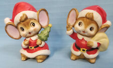 """Mice Christmas Holiday Santa & Mrs. Clause Figurines Statues Red White 3.5"""""""