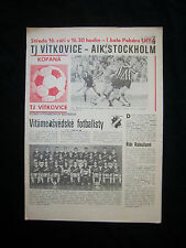 ORIG. PRG UEFA CUP 1987/88 TJ Vitkovice-AIK STOCKHOLM!!! RARO