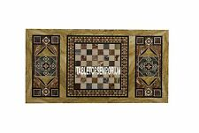 5'x2.5' Marble Living Room Playing Chess Table Gemstones Pietradura Inlay Decor