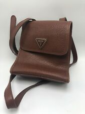Vintage GUESS USA Brown Pebbled Leather Cross Body Bag - Hipster Purse Camera