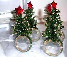 4 Kim Seybert Christmas Tree Napkin Ring Holders Beaded Holiday Table Decor New