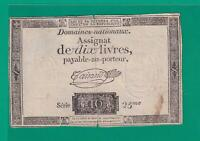 ASSIGNAT  FRENCH  REVOLUTION  10 LIVRES  1793 .G.    - CURRENCY BILL