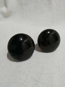 Set of Antique Porcelain Black Door Knobs