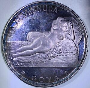 EQUATORIAL GUINEA: 1970 100 Pesetas ———> SILVER GOYA w/FANTASTIC VIOLET TONING