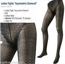 Nr 3 Collant Calze Donna Rete Diamanti Asimmetrici 10170-A517 Tg Un (veste S/L)