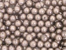 30 Coffee Glass Pearl 10mm Round Beads