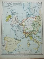 ANTIQUE PRINT MAP DATED 1905 WESTERN EUROPE AT ACCESSION OF ELIZABETH 1558 ATLAS