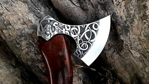 MDM UNIQUE HAND MADE ENGRAVE TOMAHAWK Scandinavian Forest Axe, CAMPING TOOL AXE