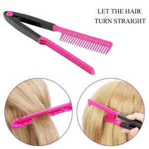 DIY Salon Folding Hairdressing Styling Hair Straightening V Type Comb Clip Desig