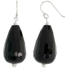 ".925 Sterling Silver Dangle Earrings Beads & Faceted Black Obsidian 1 11/16"""